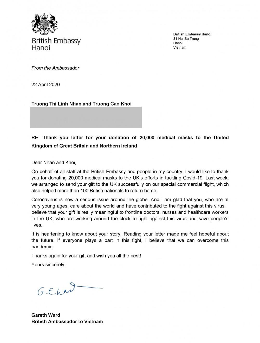 英國駐越南大使寫信答謝小朋友的心意。